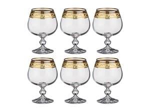 """Набор бокалов для коньяка """"Клаудия"""" с позолотой 6шт."""