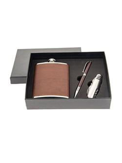 Подарочный набор: фляжка 230 мл, нож складной, ручка - фото 10615