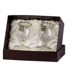 Набор бокалов для коньяка 2 шт. с накладкой Кабан (латунь) - фото 9733
