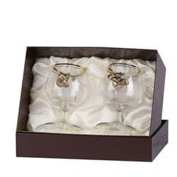 Набор бокалов для коньяка 2 шт. с накладкой Лось+Кабан (латунь) - фото 9739