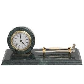 Настольный набор на мраморной подставке (часы, ручка, подставка для визиток), 28*10 см