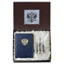 Набор: подстаканник никелированный Герб и ежедневник накладка Герб, в подар. футляре