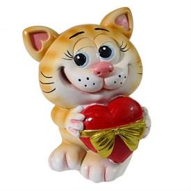 Копилка Котик с сердцем, 9.5*9*13см