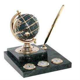 Метеостанция на мраморной подставке с часами-композицией время, термометром, гигрометром, глобусом, ручкой