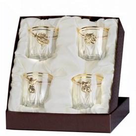Набор бокалов для виски (4шт.) с накладкой звери (латунь) в футляре