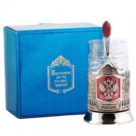 Подстаканник подарочный никелированный с эмалью Герб РФ в под. коробке