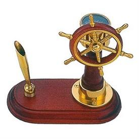 Настольный набор: компас Штурвал, ручка с подставкой, 14,5*7,5*15,5 см