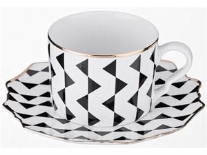 Чайный набор на 1 персону черное-белое 2 пр. 250 мл. коллекция Vogue