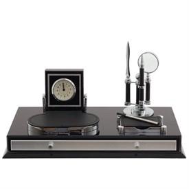 Настольный набор (часы, ручка, лупа, нож д/бумаги, визитница, блок для записей), 41*21*19 см