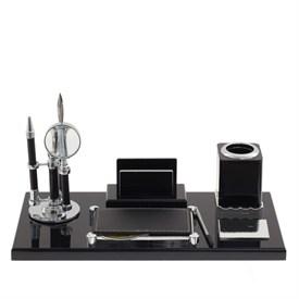 Настольный набор (ручка, лупа, нож д/бумаги, подставка д/телеф., блок для записей, карандашница)
