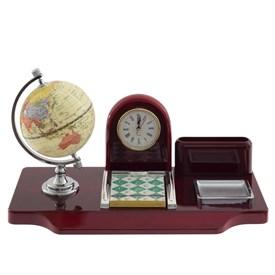 Настольный набор (часы, глобус, визитница, блокнот), 35*18*21 см