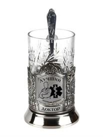 """Подстаканник никелированный """"Лучший доктор"""" в подар. коробке"""