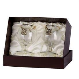 Набор бокалов для коньяка 2 шт. с накладкой Кабан (латунь)