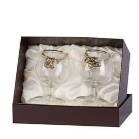 Набор бокалов для коньяка 2 шт. с накладкой Лось+Кабан (латунь)