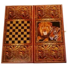 "Нарды+Шашки принт ""Лев и тигр"" малые 40*20*3,5см"